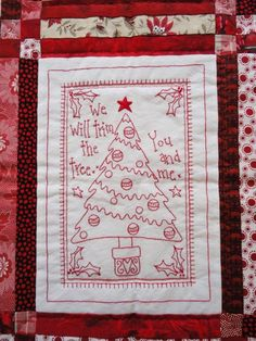 Redwork Christmas quilt at Wendy's Quilts and More.  Design by Rosalie Quinlan. 2014 Bloggers' Quilt Festival.