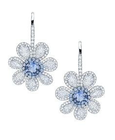 Sapphire and diamond flower earrings by Martin Katz.