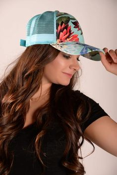 Floral Mesh Trucker Hat - Mint - HAT736MT-Tee for the Soul