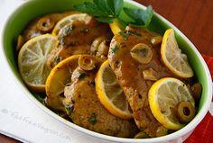 Seitan Scaloppine is thin seitan (wheat gluten) cutlets smothered in a lemon-olive sauce.