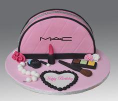 Mac Cosmetics Cake   von Gellyscakes Teen Cakes, Girly Cakes, Fancy Cakes, Fondant Cake Tutorial, Fondant Cakes, Cupcake Cakes, Fondant Bow, 3d Cakes, Fondant Flowers