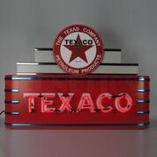 The Art Deco Marquee Texaco Neon Sign In Metal Can is part of our newest vintage style neon art line, Art Deco neon signs! These are modeled after the unmistaka Art Deco Logo, Home Office, Neon Sign Art, Pop Art, Vintage Neon Signs, Old Gas Stations, Marquee Sign, Texaco, Old Signs