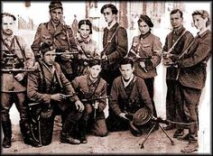 "Members of The Fareynikte Partizaner Organizatsye (United Partisan Organization) in the Vilna Ghetto. Its motto: ""We will not go like sheep to the slaughter"""