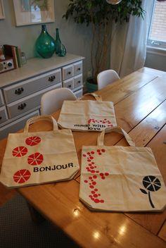 Stamped tote bags. Cute!