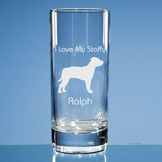 Staffordshire Bull Terrier Dog Lover Personalised Engraved Highball Glass - Name and Message of Your Choice  - Birthday Gift, Dog Lover Gift