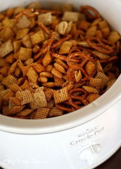 Ingredients:    3 Cups Rice Chex  3 Cups Corn Chex  3 Cups Wheat Chex  3 Cups Quaker Crunchy Corn Bran Cereal (l love this cereal)  2 Cups pretzels  2 Cups mixed nuts  1/2 cup butter (1 stick)  1 1/2 teaspoon seasoned salt 1 teaspoon garlic powder  1 teaspoon onion powder  3 Tablespoons Worcestersh