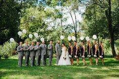 Wedding party photo idea - with balloons! {Apaige Photography}
