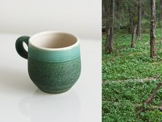 Vintage green ceramic coffee cup, mug - small rustic ceramic cup, mug - handmade by Finnish artist Pulliainen - Scandinavian home, ceramics