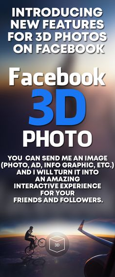 Make your facebook image stand out in the timeline of your followers with an unique facebook 3D photo! Facebook has a new feature called 3D Photo that can change its angle when you tilt your phone or move the cursor, and I can help you turn any image into Facebook 3D Photo... #facebook #facebookmarketing #facebookpage #facebookads #facebookgroup #facebookadvertising #facebookpost #facebooktips #facebookforbusiness #FacebookFeatures ##facebookmemories #facebookstatus #facebookcover