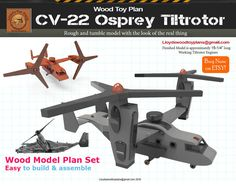 Osprey Tiltrotor aircraft by Lloydswoodtoyplans on Etsy Electric Hand Drill, Wooden Airplane, Wood Plane, Wood Toys Plans, Paper Toys, Legos, Wooden Toys, Woodworking Plans, Wood Projects