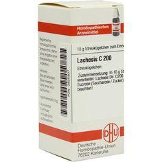 LACHESIS C 200 Globuli:   Packungsinhalt: 10 g Globuli PZN: 02925937 Hersteller: DHU-Arzneimittel GmbH & Co. KG Preis: 9,10 EUR inkl. 19…