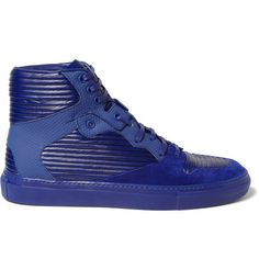 Balenciaga Panelled Leather and Suede High Top Sneakers | MR PORTER