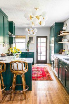 Bohemian Glam Plant Filled Jessica Brigham Home Photos | Apartment Therapy The Design Files, Küchen Design, Home Design, Layout Design, Design Ideas, Home Interior Design, Dark Green Kitchen, Kitchen White, Interior Simple