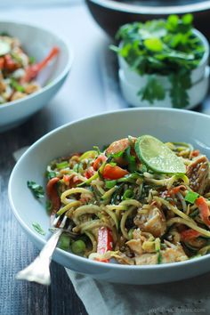 Zoodles are the star in this easy 15 minute Thai Chicken Zucchini Noodles recipe with Spicy Peanut Sauce - packed with a punch of flavor! | joyfulhealthyeats.com