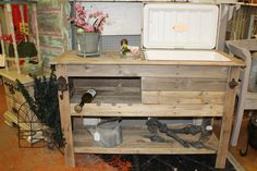 Rustic Outdoor Bar / Cooler Console Table by FurnishingsWithaPast, $359.00