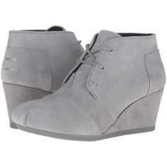 BOBS from SKECHERS High Notes - Behold (Gray) Women's Lace-up Boots ($48) ❤ liked on Polyvore featuring shoes, boots, grey, laced ankle boots, gray lace up boots, bootie boots, minnetonka® shearling-lined lace-up boots and short boots