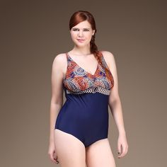 1708e93d34 Aliexpress.com : Buy Plus Size One Piece Woman Swimsuit Big Size U Shape  Back Bathing Suit Printed Top Design Swimwear Sexy V Shape Neck Line from  Reliable ...