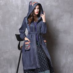 YUNY Womens Ethnic Style Loose Plus Size Cotton Padded Outwear Navy Blue XL