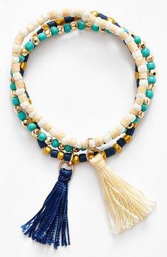 BP. Beaded Tassel Stretch Bracelet available at #Nordstrom