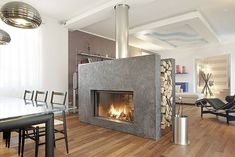 see... real wood, 2 sided fireplace!