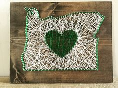14x12 Oregon Love Sign. #ExcellThreads #StringArt #OregonLove To order, email: excell.threads@gmail.com Custom orders also available.