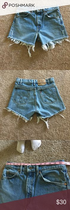 Levi's cut off jean shorts Soft and a beautiful wash !!!!!!! I love them but bought them and ended up being too big . I've never owned Levi's before so I'm trying to figure out my size it's been a little challenging . I am a size 2 or 4 in American eagle jeans these would fit a size 5 or 6 Levi's Shorts Jean Shorts