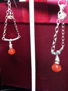 Dangle earrings of carnelian and flourite on by jackiesjewells, $18.00