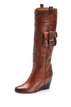 Theres a pocket on the boot!! Brooklyn Tall Wedge Boot - Tobacco