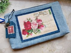 roses old post card applique purse, cosmetic documents bag, denim clutch