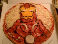 Iron Man pizza... I should make this for my husband! He loves iron man.