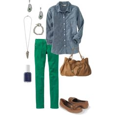 Green and Denim by charlestongirlblog, via Polyvore