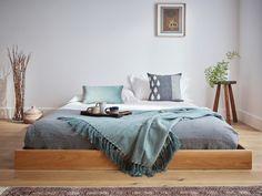 Low Enkel Platform Bed (No Headboard) Low Wooden Bed Frame, Low Bed Frame, Low Platform Bed Frame, Wabi Sabi, Low Floor Bed, Minimal Bed Frame, Japanese Inspired Bedroom, Attic Bed, Boho Chic