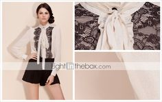 TS vintage chiffon lace blouse shirt $36