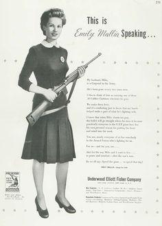 Underwood Elliott Fisher Ad, c 1944: the typewriter company converts to carbines.