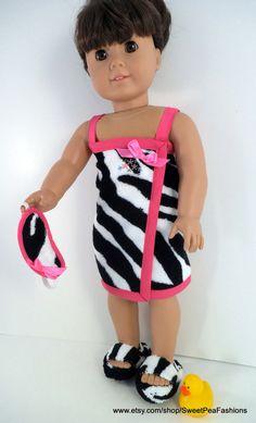 American Girl Zebra Print and Pink Spa Set by SweetPeaFashions, $11.00