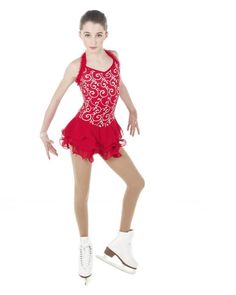 NEW COMPETITION SKATING DRESS Elite Xpression Red Silver 1409 12-14 CXL