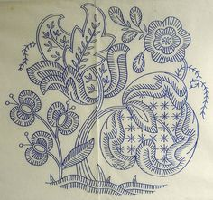 VINTAGE EMBROIDERY TRANSFER 1939 - A JACOBEAN MOTIF #VintageEmbroideryPatterns