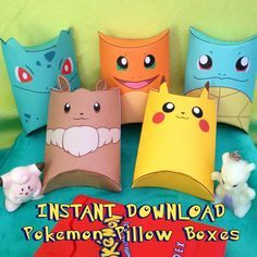 Pokemon Inspired Pillow Boxes Instant Download Printable by MissFrightsDelights ~ Birthday party perfect favours feature Pikachu, Bulbasaur, Squirtle, Charmander & Eevee <3 https://www.etsy.com/listing/209090858/