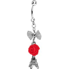 Handcrafted Paris Love Rose Dangle Belly Ring #bodycandy #bellyring #paris $8.99