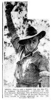 1953 Pte D Tudman, Maryborough. a member of the 47th Infantry Battalion learning the technique of grenade throwing at Greenbank. 1500 CMF troops are training at Greenbank.