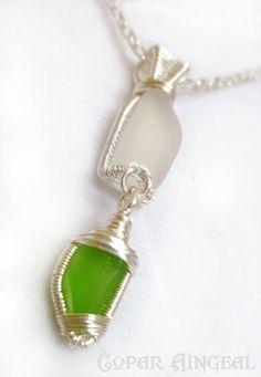 Sea Glass Pendant - Green and White Beach Glass #sea glass beads & #sea charms: http://www.ecrafty.com/c-780-sea-glass-beads.aspx?pagenum=1===newarrivals=60
