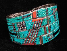 Bracelet | Carl and Irene Clark (Navajo). Sterling with with intricate microfine inlay.