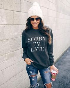 cb32a93b776e4 Sorry I m Late Cotton Blend Sweatshirt Sweater Weather