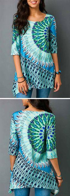 Asymmetric Hem Printed Half Sleeve Blouse.#blouse #womenswear#top#blouse