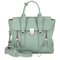 3.1 Phillip Lim Pashli Medium Satchel (3.590 BRL) ❤ liked on Polyvore featuring bags, handbags, bolsos, apparel & accessories, lilac, green leather purse, genuine leather purse, leather satchel, genuine leather satchel handbags and leather satchel purse