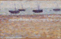 "the-barnes-art-collection:  "" Four Boats at Grandcamp (Quatre bateaux à Grandcamp) by Georges Seurat, Barnes Foundation  Medium: Oil on panel  Barnes Foundation (Philadelphia), Collection Gallery, Room 06, South..."