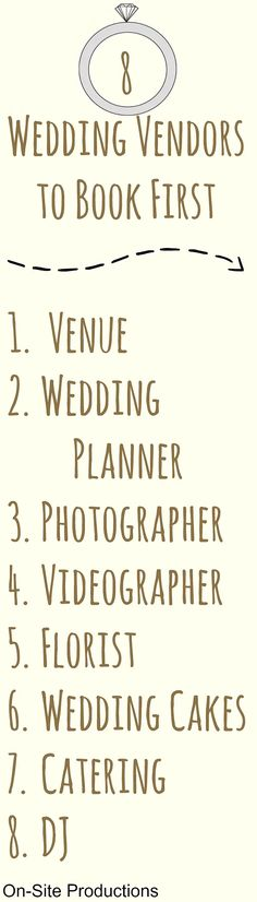 Hip, hip hooray! You're engaged! Now that you have that sparkly new rock on your finger, it's time to start planning! What vendors should you book first?