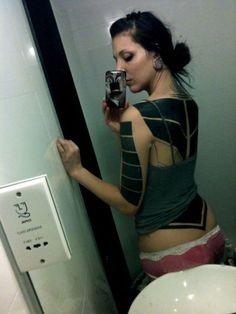 Hand Rectangles and Full Back Blackwork tattoo