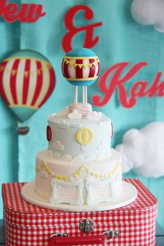 """""""Growing Up Up Up"""" Themed Hot Air Balloon Birthday Party via Kara's Party Ideas   The Cake"""
