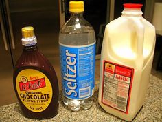 Fox's U-Bet Chocolate Syrup, Seltzer & Milk ... the only ingredients needed to make the perfect egg cream. 1 part syrup, 1 1/2 parts milk, 5 parts seltzer ...